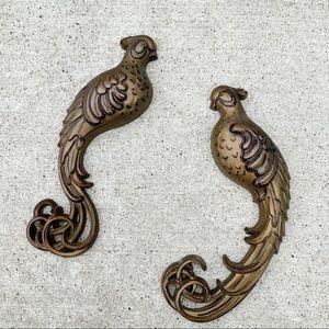 Vintage Burwood Bronze birds wall hangings